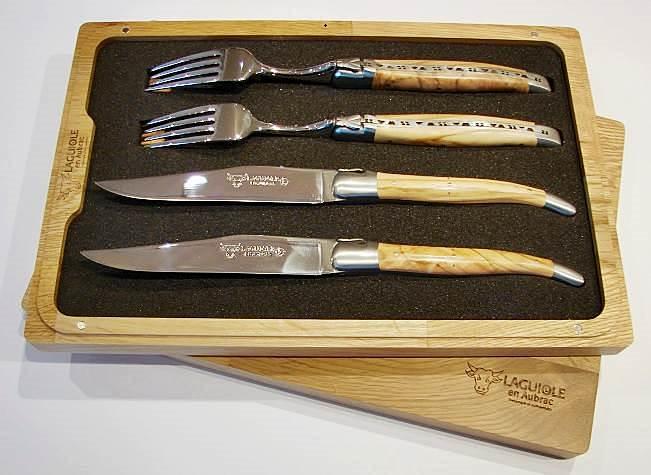 Set 2 Steakmesser mit Gabeln Olivenholz