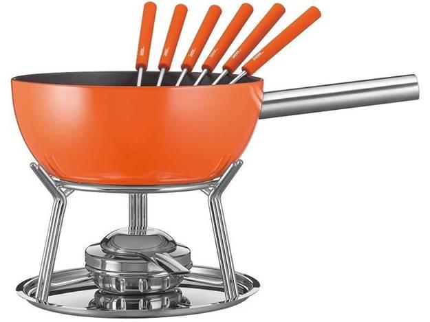 spring fondue garnitur orange 23cm 8 tlg. Black Bedroom Furniture Sets. Home Design Ideas